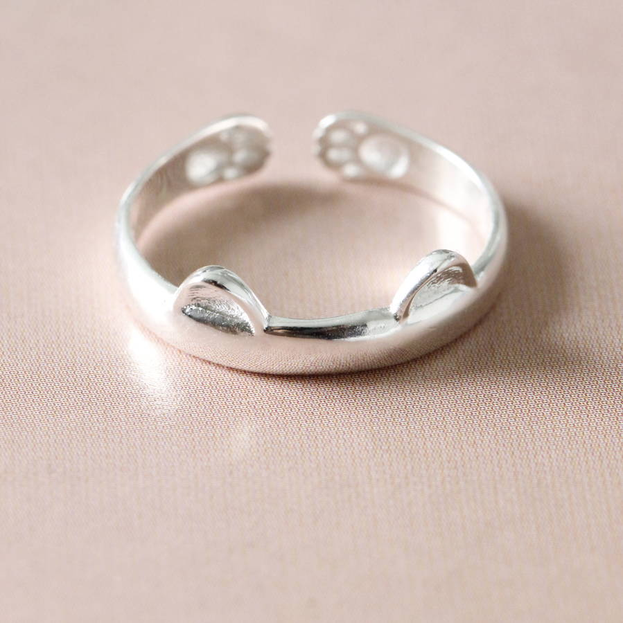 bone couple rings cat love fish adjustable silver