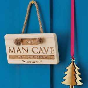 Personalised 'Man Cave' Wooden Sign - gifts for him