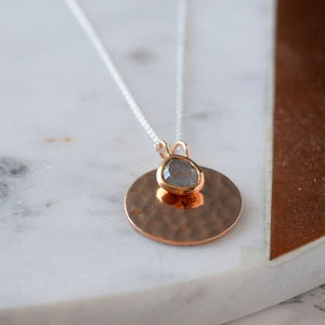Personalised Rose Gold Disc And Aqua Pendant