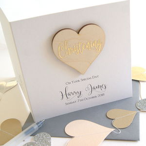 Personalised Christening Wooden Heart Card