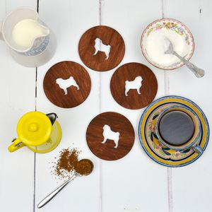 Wooden Pug Dog Coasters - coasters