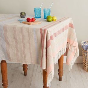Handwoven Cotton Mexican Tablecloth - table linen