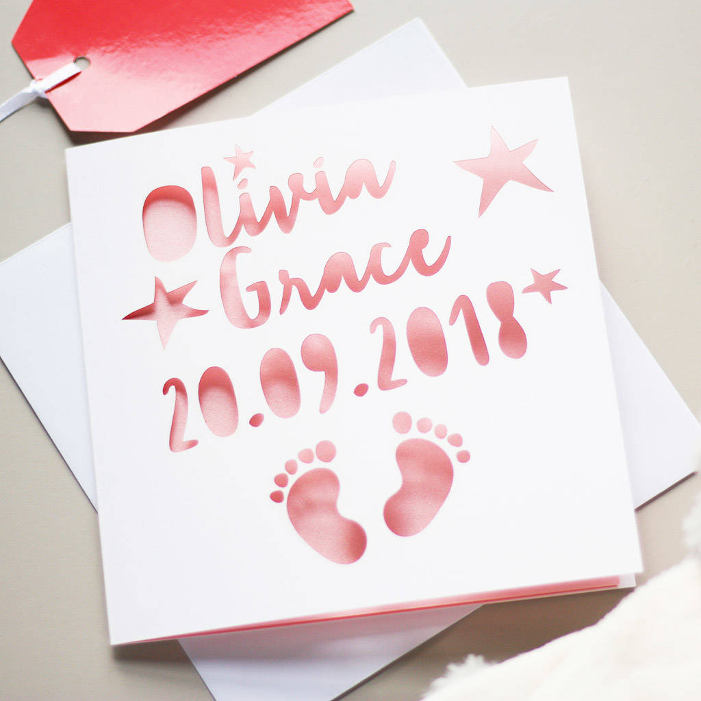 personalised new baby footprints card by whole in the