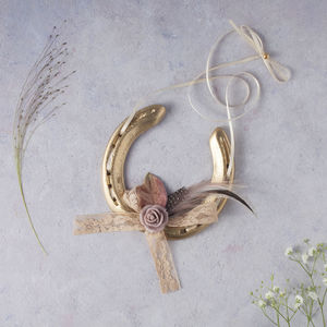 Gold Camille Blush Lucky Wedding Horseshoe