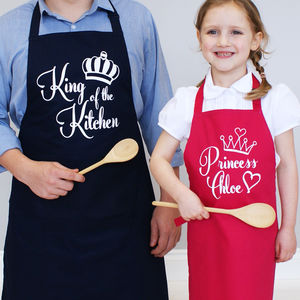 Personalised King And Princess Apron Set - children's cooking