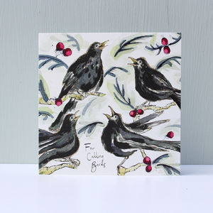 Four Calling Birds Christmas Cards Pack Of Five