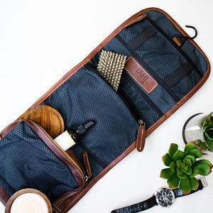 Personalised Leather Hanging Dopp Kit With Hook