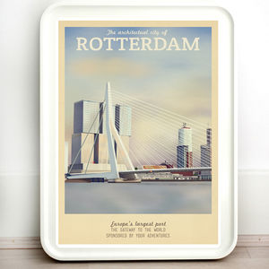 The Netherlands Rotterdam Retro Travel Print