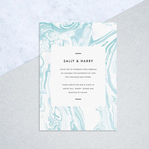 Aqua Marbled Wedding Invites