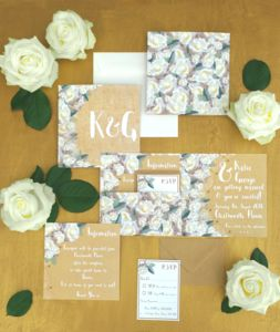 'White Rose' Wedding Stationery Collection - save the date cards