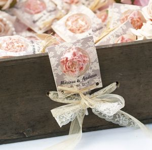 Personalised Pink Rose Chocolate Lollipop Favours - wedding favours