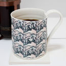 Patterned Tall Hand Thrown Porcelain Mug