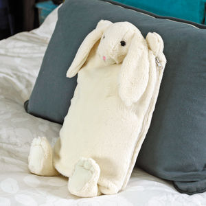 Cream Bunny Hot Water Bottle Cover/Pj Case - bedroom