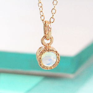Rose Gold Opal Birthstone Necklace - october birthstone