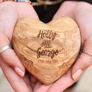 Personalised Olive Wood Valentine Anniversary Heart