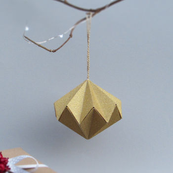 Metallic Diamond Origami Paper Ornament By The Origami Boutique