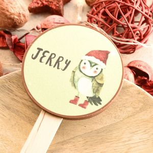 Personalised Christmas Owl Chocolate Lolly - novelty chocolates