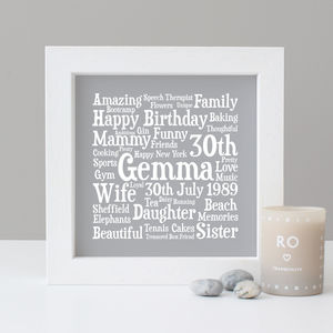 Birthday Personalised 30th Word Art Gift