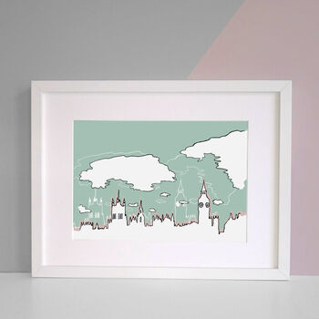 A3 Green and Powder pink White Frame