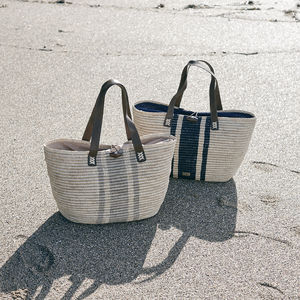 'Antigua' Hand Crocheted Structured Raffia Tote