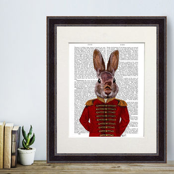 Military Rabbit In Red, Book Print