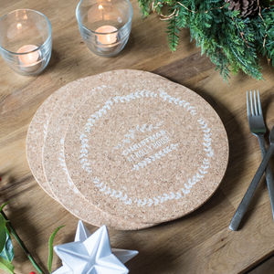 Four Personalised Christmas Wreath Cork Placemats - winter sale