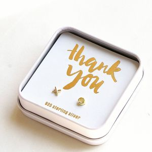 Gift Boxed 'Thank You' Kiss And Hug Earrings