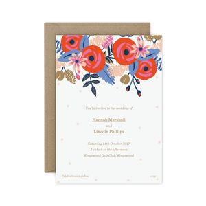 Clemmie Floral Wedding Invitation - invitations
