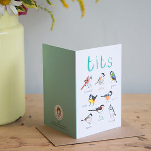 'Tits' Illustrated Bird Pun Card - funny cards