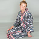 Kimono Dressing Gown In Grey Heart Print