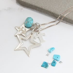 Personalised Open Star Necklace With Birthstones - necklaces & pendants