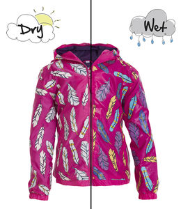 Children's Feather Colour Changing Pack Away Raincoat - clothing