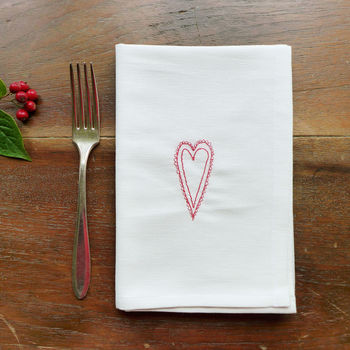 Embroidered Scandi Heart Napkins