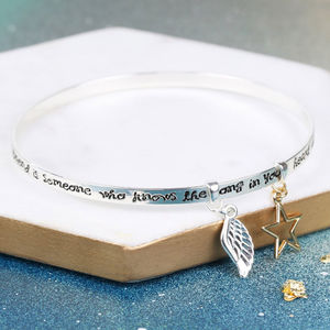 'A Friend Is Someone' Meaningful Words Charm Bangle - gifts for friends