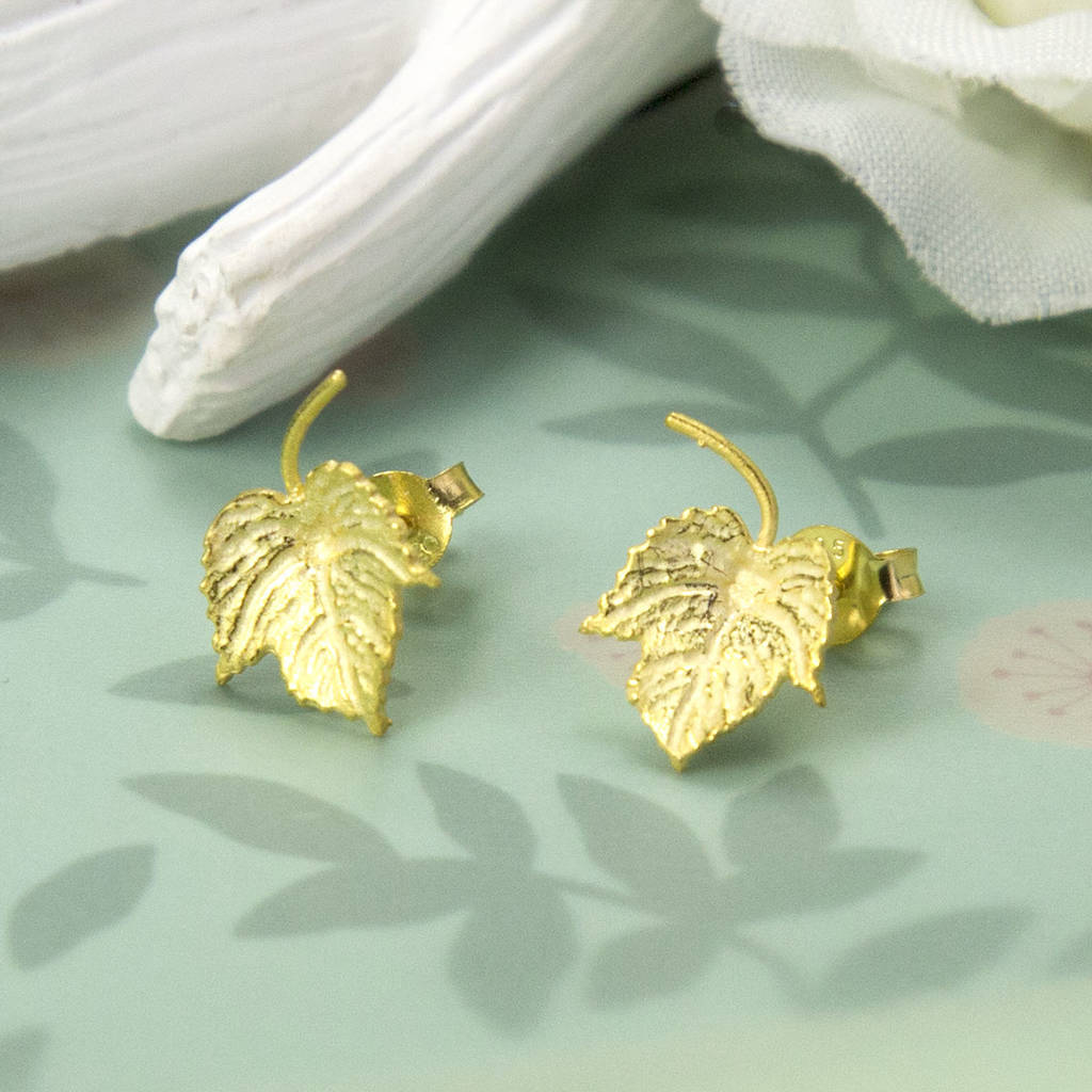 Gold Plated Sterling Silver Ivy Leaf Earrings