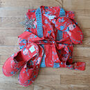 Parisian Rouge Organic Cotton Kimono Slipper Set