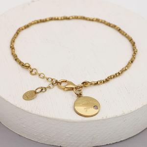 Personalised Golden Nugget Disc Bracelet - bracelets & bangles