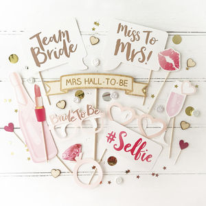 Hen Party Rose Gold Photo Booth Props - bright & bold hen party