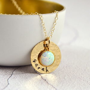Personalised Gold Or Silver Hammered Opal Name Necklace