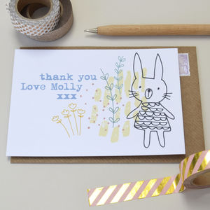 12 Personalised Little Rabbit Thank You Cards - gifts for her