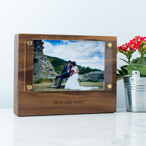Personalised Wood Photo Block With Acrylic Frame