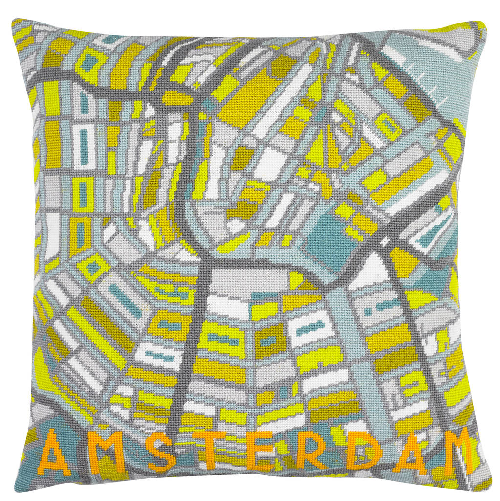 contemporary amsterdam city map tapestry kit by hannah bass