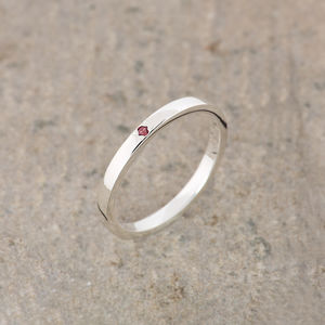 Ruby Silver Stacking Ring July Birthstone - rings