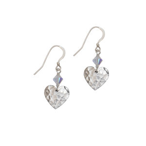 Silver Small Hammered Heart Earrings And Crystal