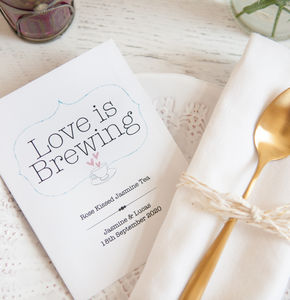 10 'Love Is Brewing' Personalised Tea Packet Favours - edible favours