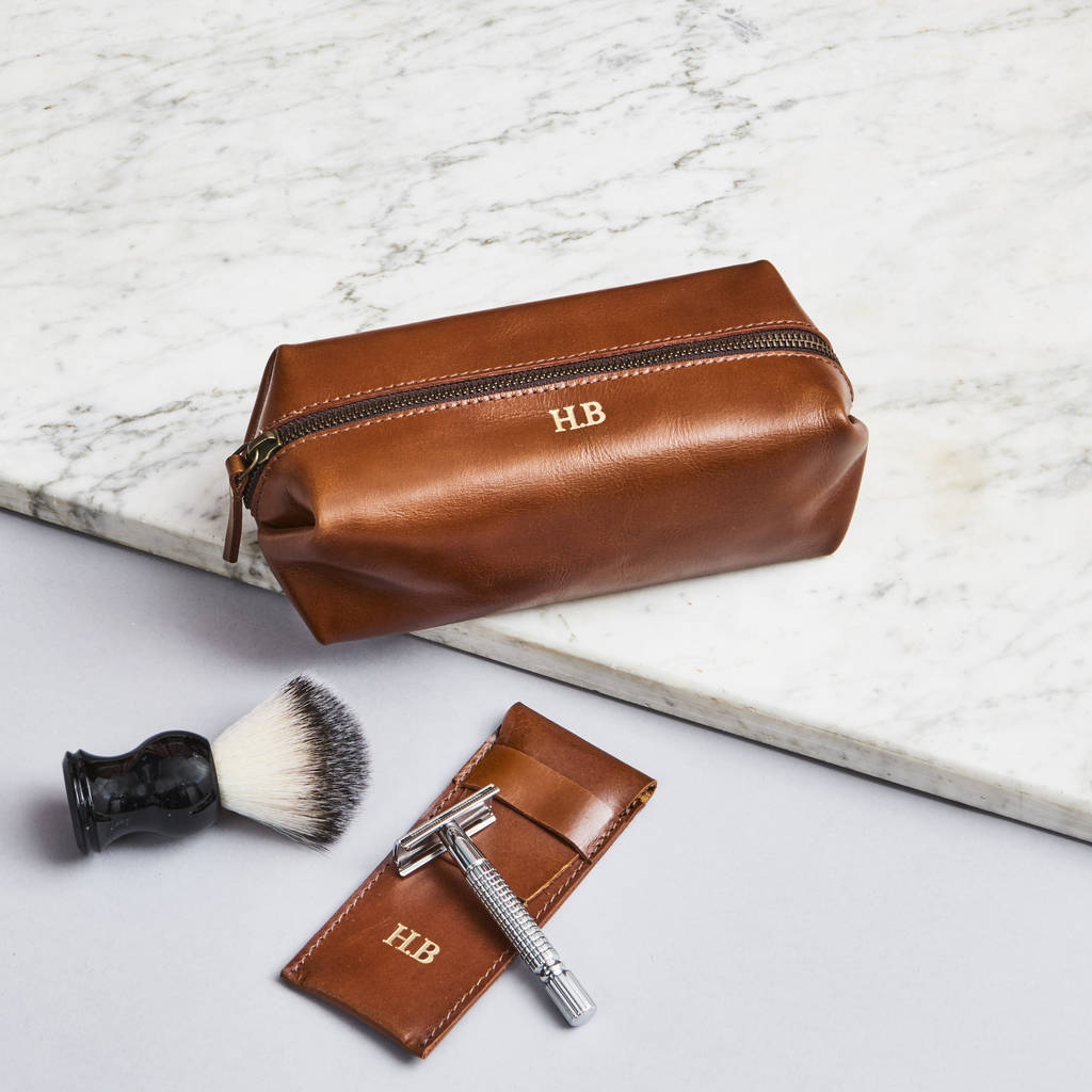 Personalised Leather Shaving Kit Bag And Razor Cover