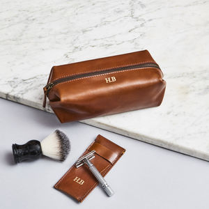 Personalised Leather Shaving Kit Bag And Razor Cover - make-up & wash bags