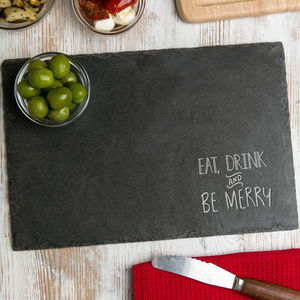 Natural Slate 'Eat, Drink And Be Merry' Serving Board - home sale