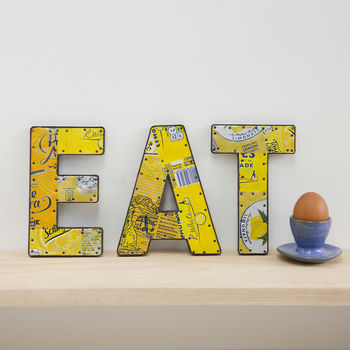 Eat letters with recycled tin cans