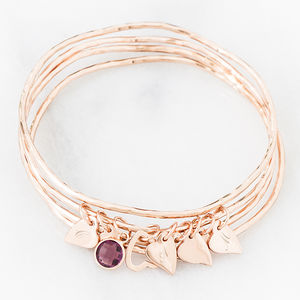 Bess Heart Charm Bangle - glittering evening wear